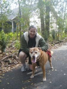 Sarah Bewley and adopted dog Rosie